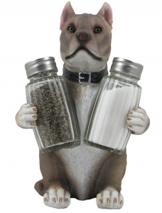 Decorative Pit Bull Glass Salt and Pepper Shaker Set with Holder